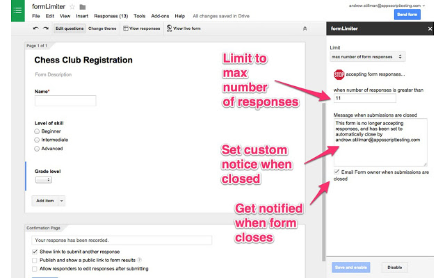 Google表單:formLimiter介紹